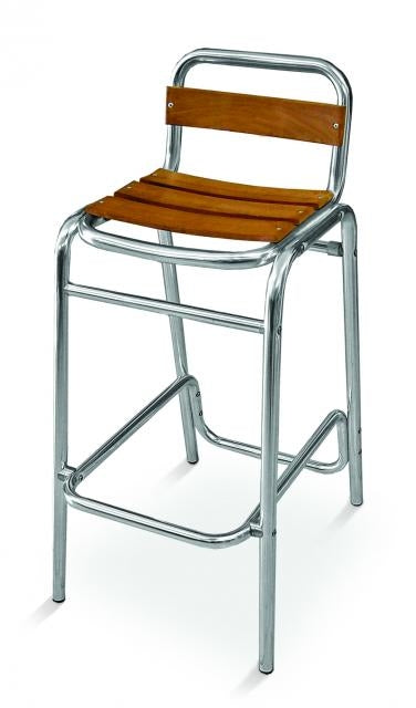 Aluminum Frame with Teak Back and Seat Barstool, Sand Key Series