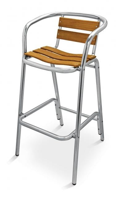 Aluminum Frame with Teak Back and Seat Arm Barstool, Sand Key Series