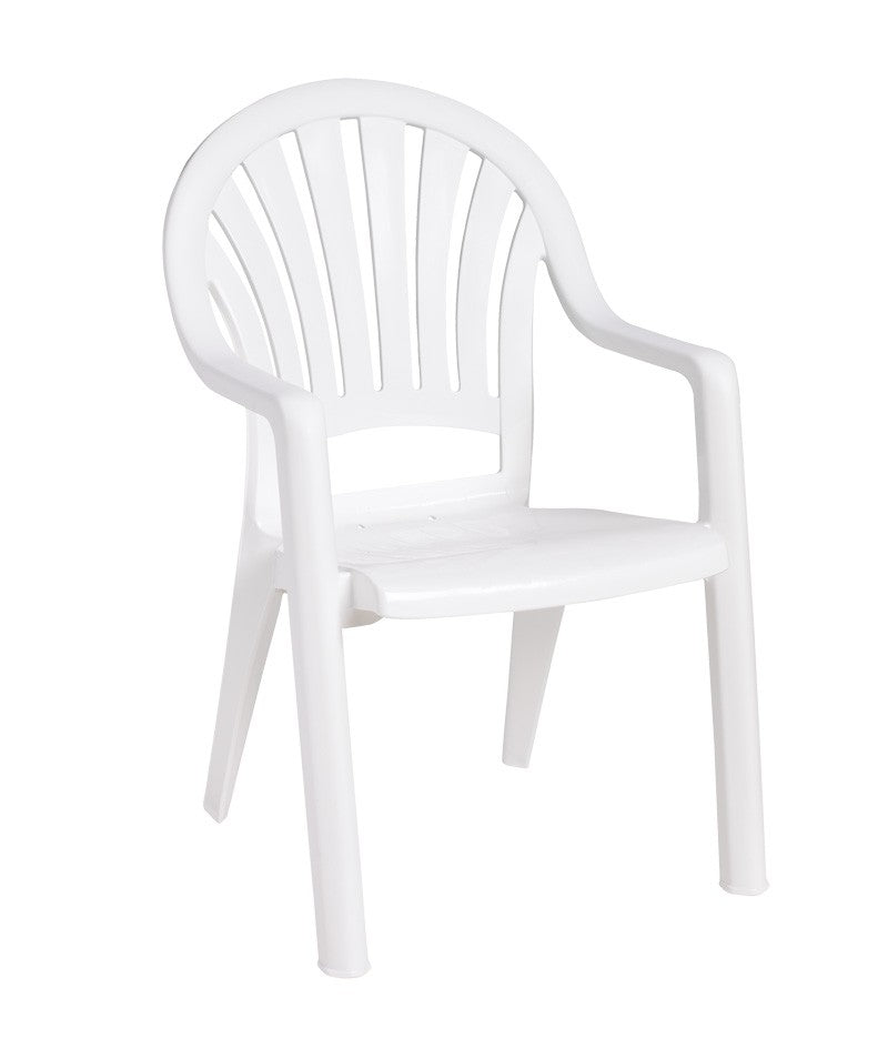 Pacific Fanback Stacking Armchair White