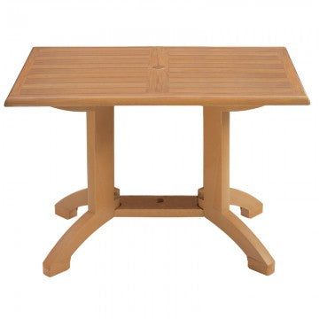 "Teak Decor Winston 48"" x 32"" Outdoor Table w/ 4-Prong Pedestal Base"