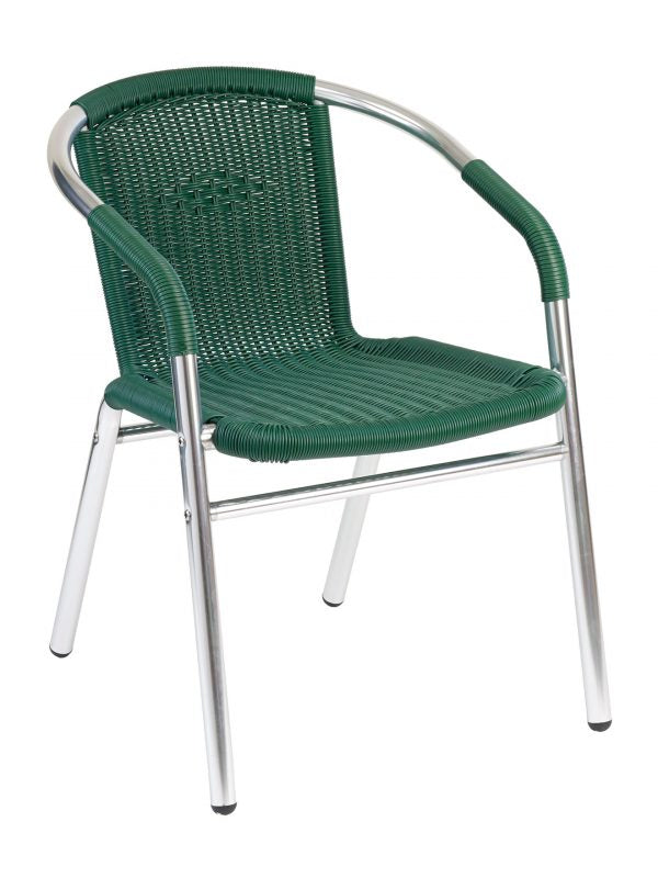 Aluminum Outdoor Stackable Arm Chair w/ PE Wired Weave Back & Seat, Key West Series