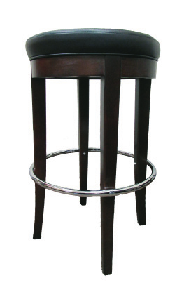 Walnut Round Wood Barstool w/ Chrome Ring