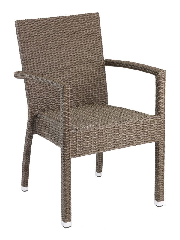 Wicker Over Aluminum Frame Stackable Outdoor Arm Chair, Naples Series