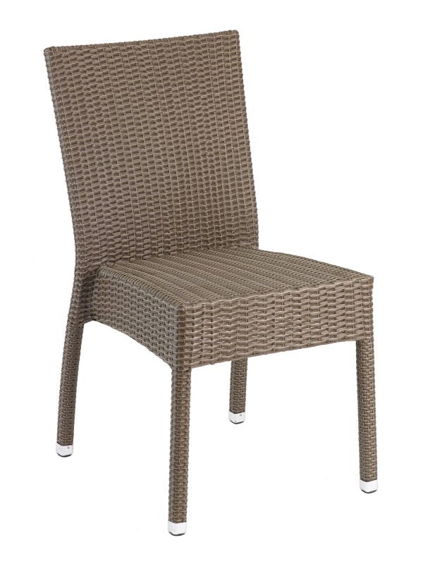 Wicker Over Aluminum Frame Stackable Outdoor Side Chair, Naples Series