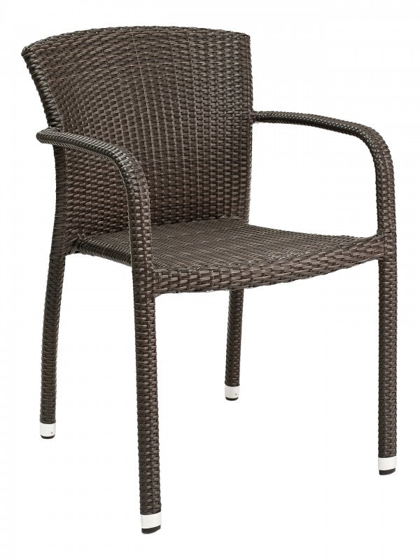 Aluminum Frame Wicker Stackable Outdoor Arm Chair, Biscayne Series