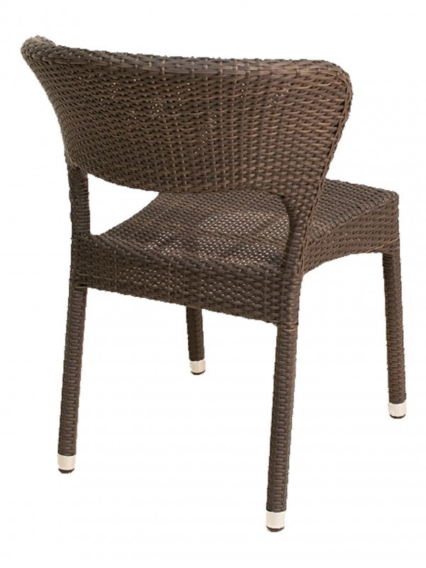 Aluminum Frame Wicker Outdoor Stackable Chair w/ Curved Back, Biscayne Series