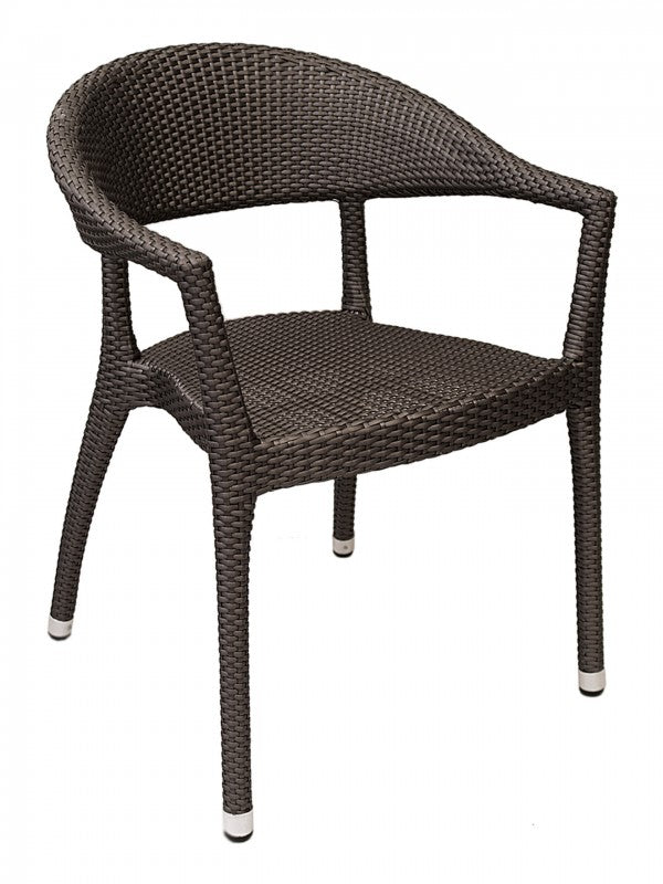 Aluminum Frame Wicker Woven Stackable Outdoor Arm Chair w/ Curved Back, Biscayne Series