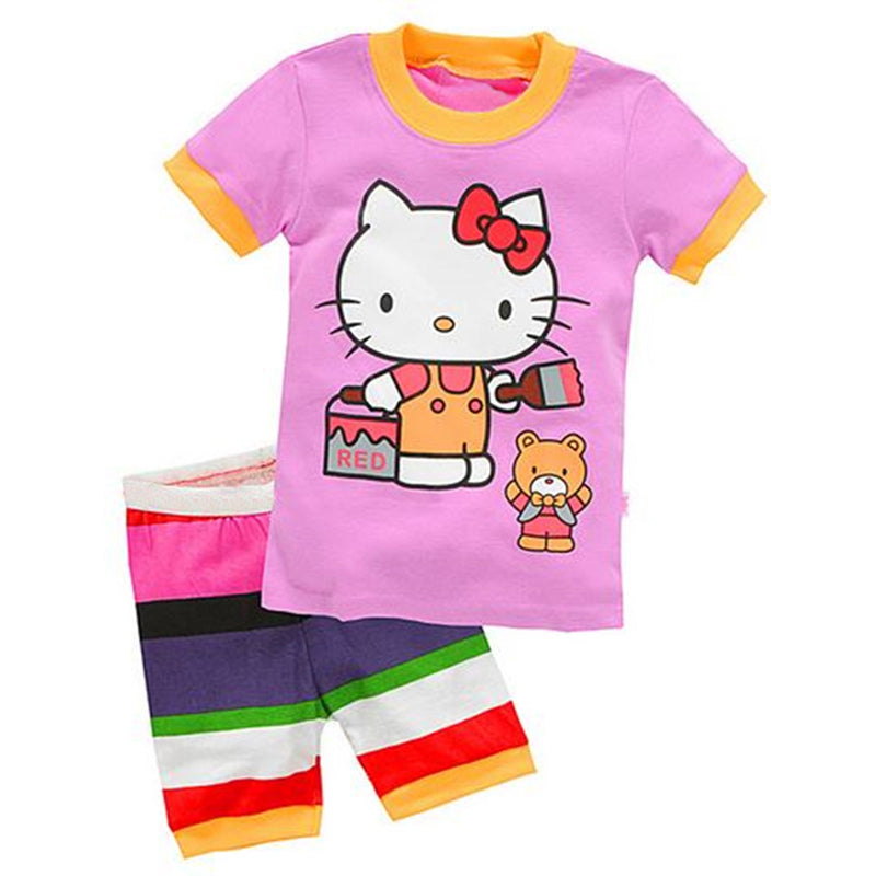 4-7Y Cartoon Girl Pajama Set - Baby-Treasure - Everything all about Pregnant and Babys