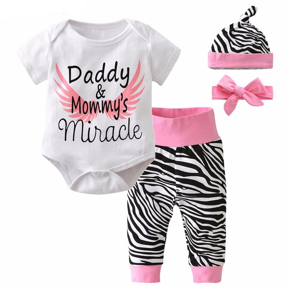 3-24M 4Pcs Baby Bodysuit + Zebra Pants + Headband + Cap - Baby-Treasure - Everything all about Pregnant and Babys