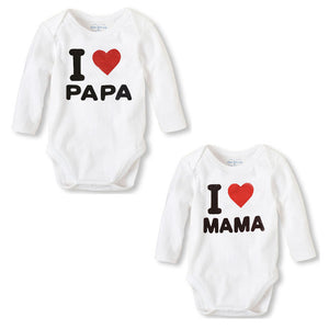 3-12M 2Pcs I Love Mama + I Love Papa - Baby-Treasure - Everything all about Pregnant and Babys