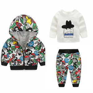 0-24M 3Pcs Baby Zipper Jacket + Pants + T-shirt - Baby-Treasure - Everything all about Pregnant and Babys
