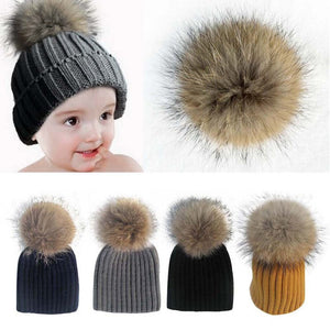 Baby Beanie with Raccoon Fur