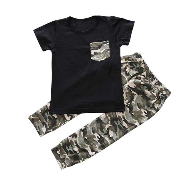 6-24M 2Pcs Baby Boys Camouflage Print T Shirt + Long Pants - Baby-Treasure - Everything all about Pregnant and Babys