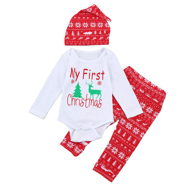 0-18M Christmas Romper+Long Pants+Hat - Baby-Treasure - Everything all about Pregnant and Babys