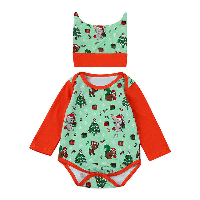 0-18M Christmas Cartoon Romper + Hat - Baby-Treasure - Everything all about Pregnant and Babys