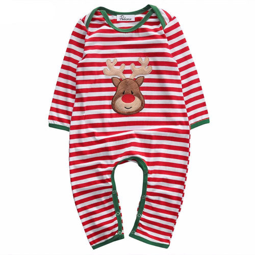 0-24M Striped Christmas Bodysuit Romper - Baby-Treasure - Everything all about Pregnant and Babys