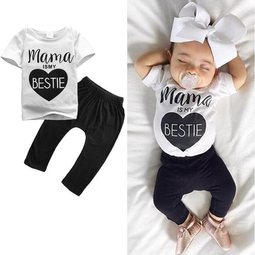 0-24M 2Pcs Baby Girls T-shirt + Pants - Baby-Treasure - Everything all about Pregnant and Babys