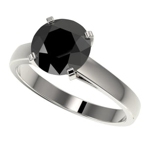 $4,050 2.59 CTW Fancy Black VS Diamond Solitaire Engagement Ring 10K White Gold