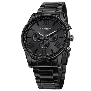 Akribos XXIV AK736BK Men's Black Stainless Steel Grey Dial