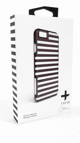 TAVIK Hollow Case for iPhone 6/6s Translucent Black & White Stripe Cover Bumper Protect