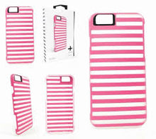 TAVIK Hollow Case for iPhone 6/6s Translucent Pink & White Stripe Cover Bumper Protect