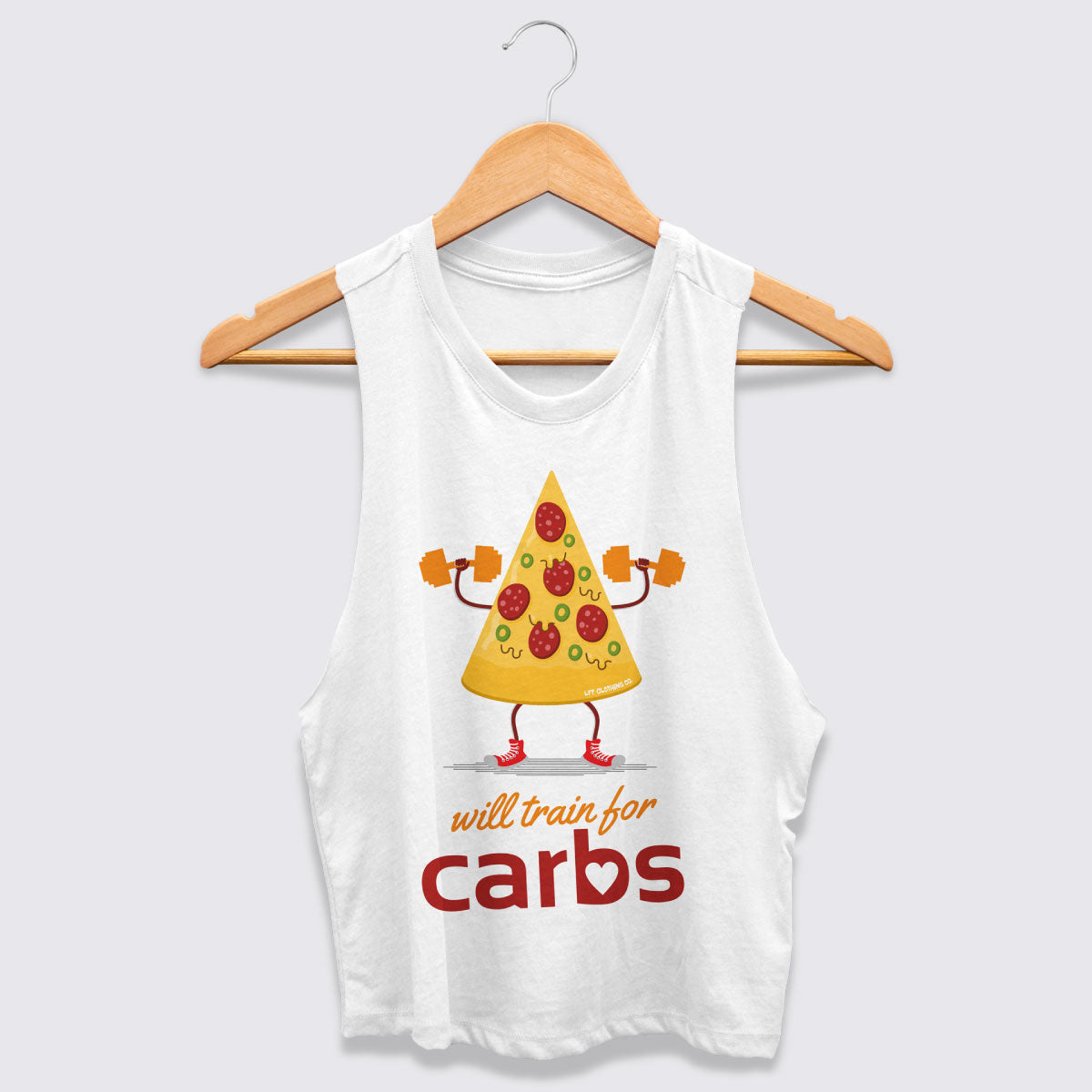 Will Train for Carbs Women's Racerback Crop Tank