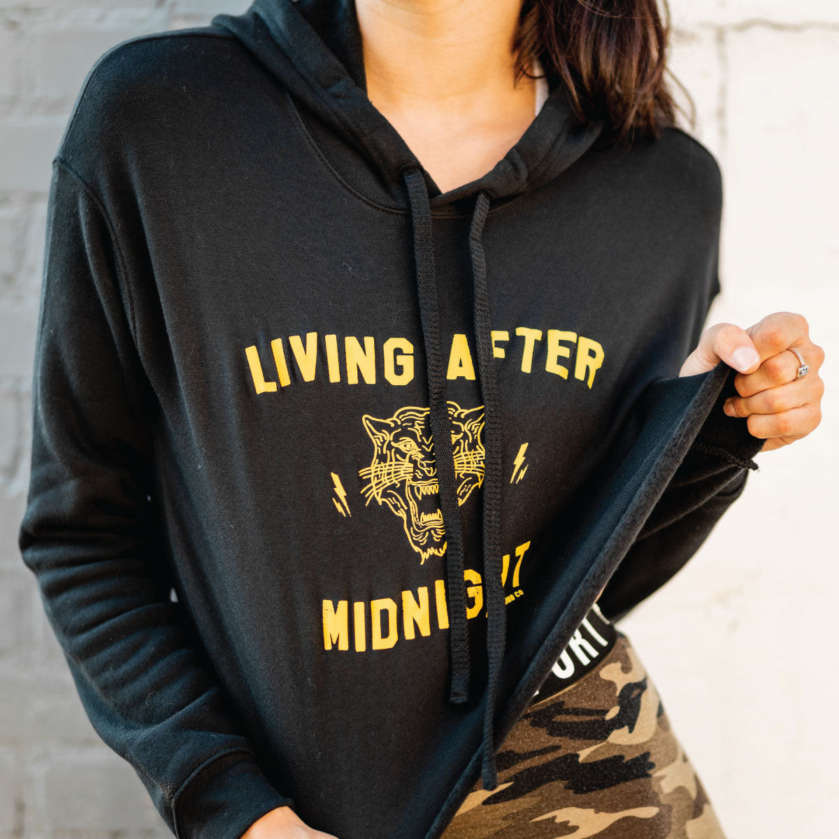 Living After Midnight Cropped Fleece Hoodie