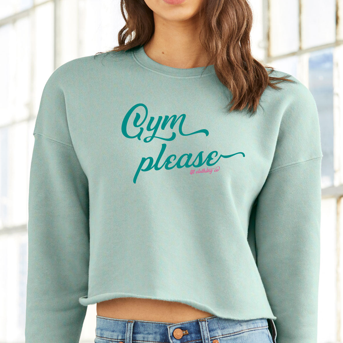 Gym Please Cropped Crew Fleece