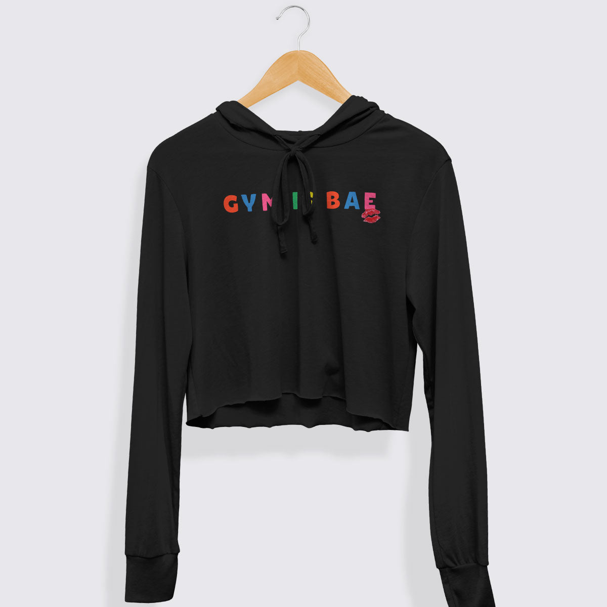 Gym is Bae Cropped Lightweight Hooded Tee
