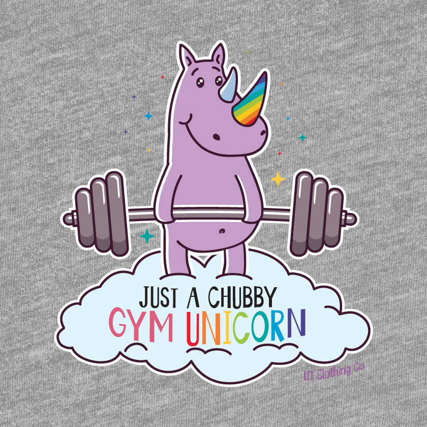 Chubby Gym Unicorn Cropped Lightweight Hooded Tee