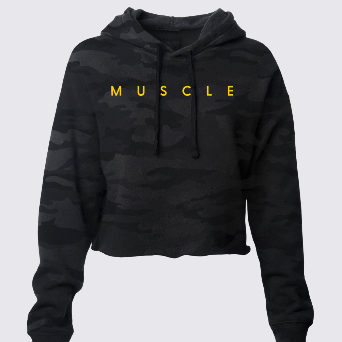 MUSCLE Black Camo Cropped Hoodie