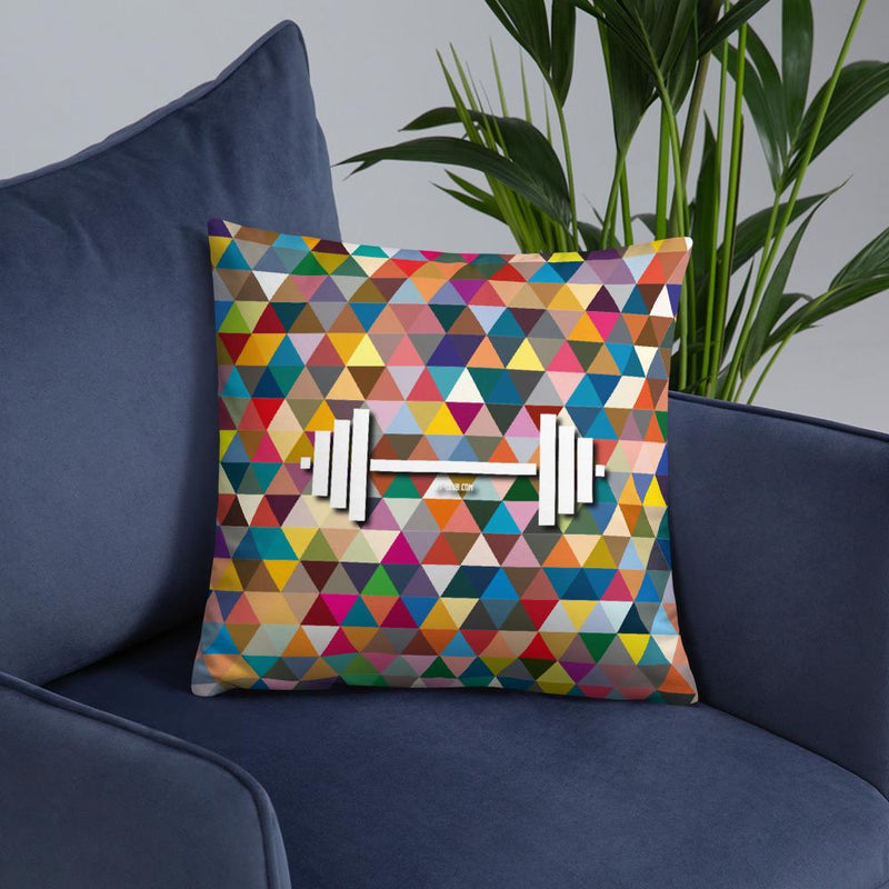 Throw Pillow, Barbell Geometic Poligonal