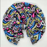 African bow turban headband turban in bright pink and blue African print African bow turban www.littlemissturbans.com