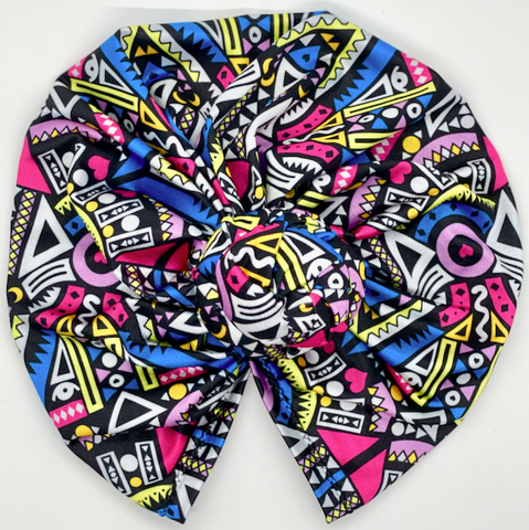 African pattern double knot turban