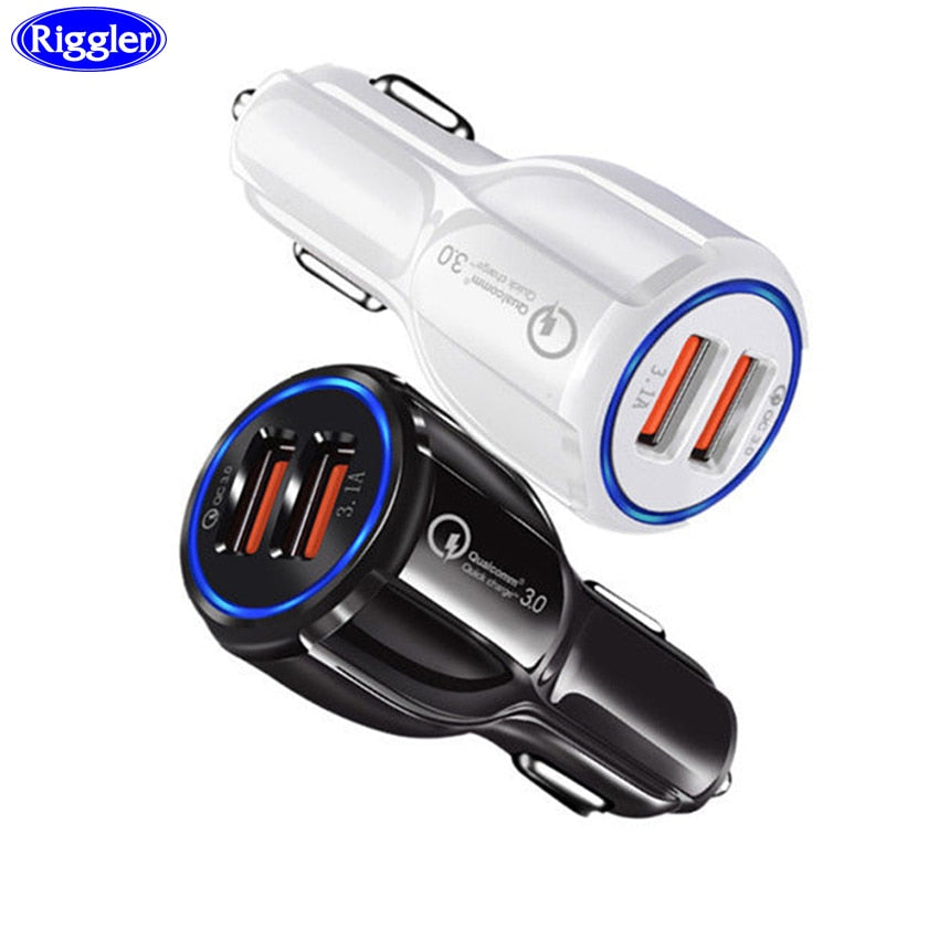 Riggler QC3.0 Car Charger Dual USB Port Cellphone Charger for iphone XS MAX XR Samsung Note9 Huawei Xiaomi LG Tablet Universal