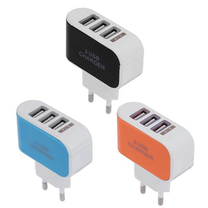 Portable EU Plug 3 Ports USB Charger with LED Light Travel Charging Adapter For Smart Mobile Phone Cellphone Travel Wall Charger