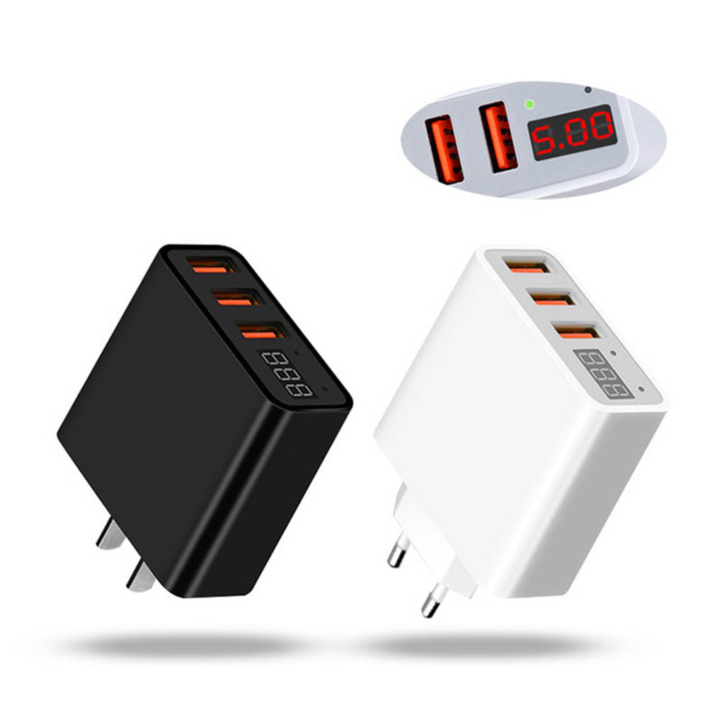 3 USB Ports Travel Charger Cellphone Tablet Charging Adaptor 5V 3.4A LED Display Voltage Current