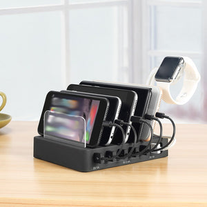6 USB Ports 50W Cellphone Tablet Smart Charger Phone Stand Holder Watch Charging Adaptor Dock