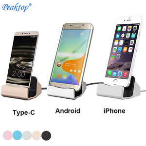 Peaktop Charger Charging Dock Station Cellphone Desktop Docking USB Cable Sync Data For iPhone 5S 6S 7 Plus Android Type-C