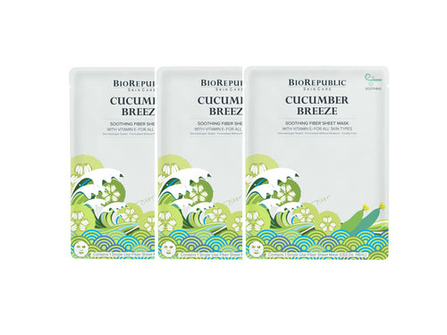 Cucumber Breeze Soothing Sheet Mask - Set of 3 - sheet mask | Ansiktsmask | Hudvård