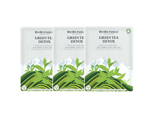 Green Tea Detox Purifying Sheet Mask - Set of 3 - sheet mask | Ansiktsmask | Hudvård