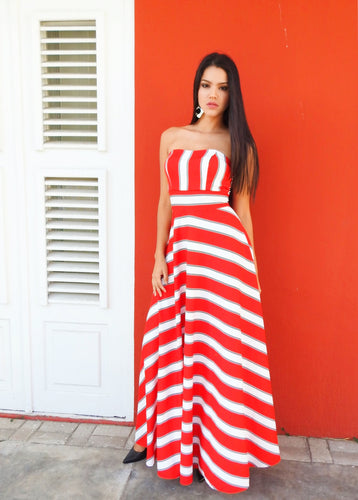 Red White striped dress