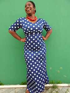 Navy and White Polka Dress