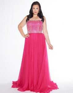 Hot pink with crystals plus gown