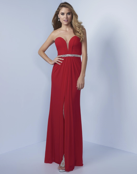 Red crystal waist gown