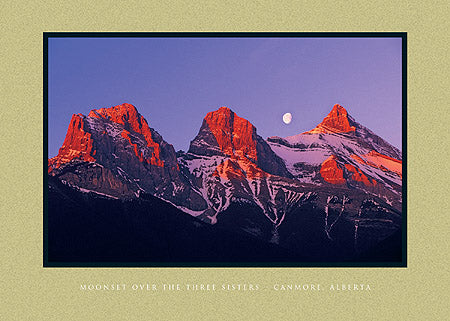 Moonset over the Three Sisters - Canmore, Alberta