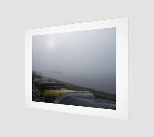 Yellow Boat Foggy Pier 11x14 Fine Art Print from Engrooved Splash Productions located in British Columbia, Canada.