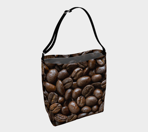 Coffee Bean Tote Bag designed by Engrooved Splash Productions located on the Sunshine Coast of British Columbia, Canada.