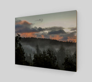 Sunset in the Fog 11x14 Wood Print from Engrooved Splash Productions located in British Columbia, Canada.