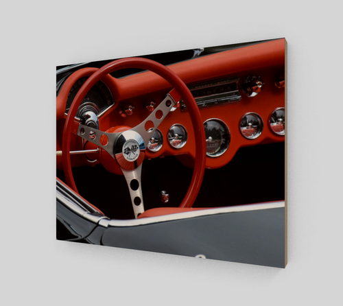 Corvette Dash 11x14 Wood Print from Engrooved Splash Productions located in British Columbia, Canada.